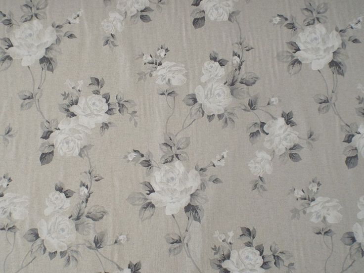 Trailing Rose Grey & White Floral French Linen Fabric. 280cm double width Fabric. Beautiful Linen mix fabric ideal for curtains, blinds, soft furnishings and all crafting projects. Fabric is available as an A4 Sample, by the meter and also by the half meter. | eBay!