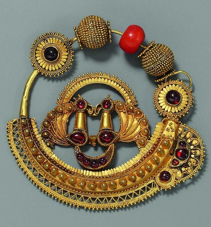 India   High karat gold nose ring ~ nath ~ with granulations and stamping, and gemstones including a coral bead   Possibly from Gujarat