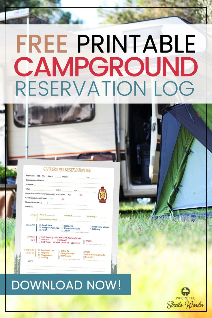 Campground Reservation Log | RV Campgrounds | Rv campgrounds, Rv