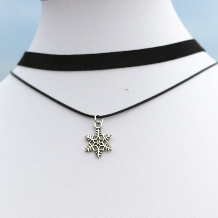 N904 Snowflake Chokers Necklaces Women 90's Girls Velvet Double Layer Collares Fashion Jewelry Gothic Bijoux Christmas Gift