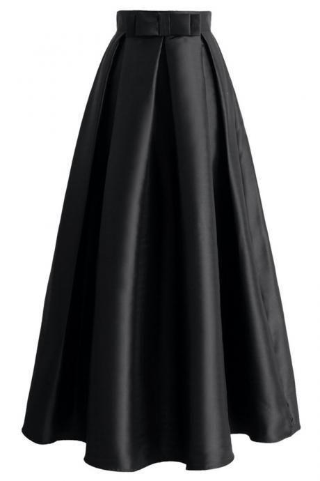 Black satin prom skirt, tutu skirts, party dress, 2017 spring dress