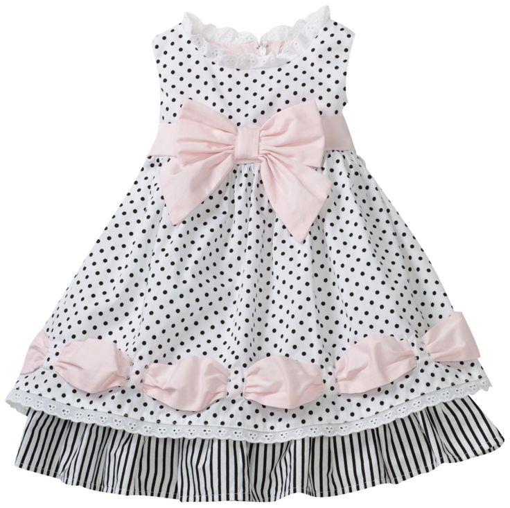 Biscotti Baby Girls' Little Darling Ribbon Dress, Black/White, 12 Months