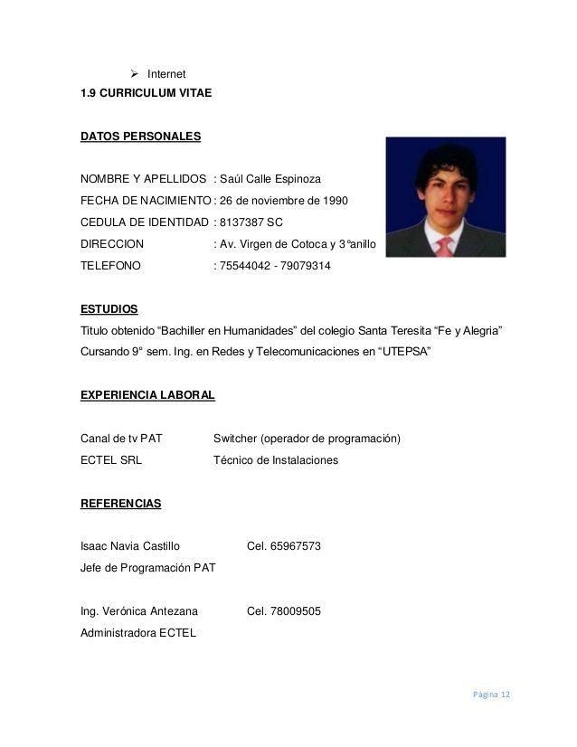 Modelo De Curriculum Vitae Word Bolivia Modelo De Curriculum Vitae Curriculum Vitae Words Kathy