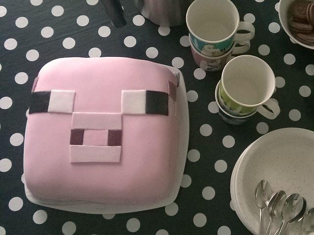 Minecraft cake, baby piggy cake, 6th birthday
