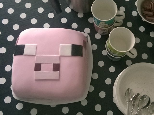 Minecraft cake, baby piggy cake, 6th birthday