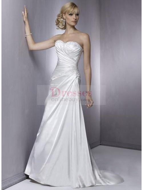 $133 Shinning Strapless Sweetheart A Line Elastic Woven Satin Wedding Dresses