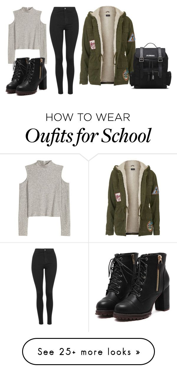 """school"" by royalthompson on Polyvore featuring Topshop, Dr. Martens, women's clothing, women, female, woman, misses and juniors"
