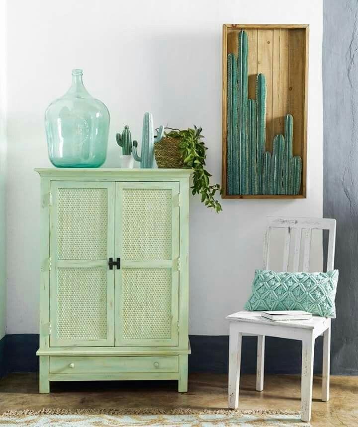 Green Cactus Mint Color Le Monde Home Accessories Beach House Fir