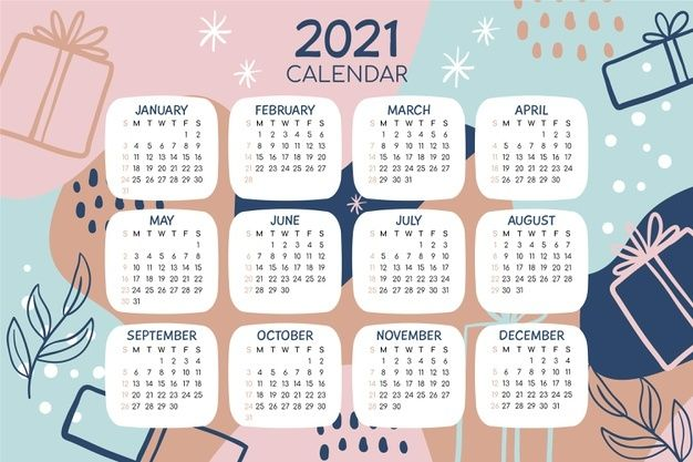 Hand Drawn New Year 2021 Calendar | Desain kalender ...