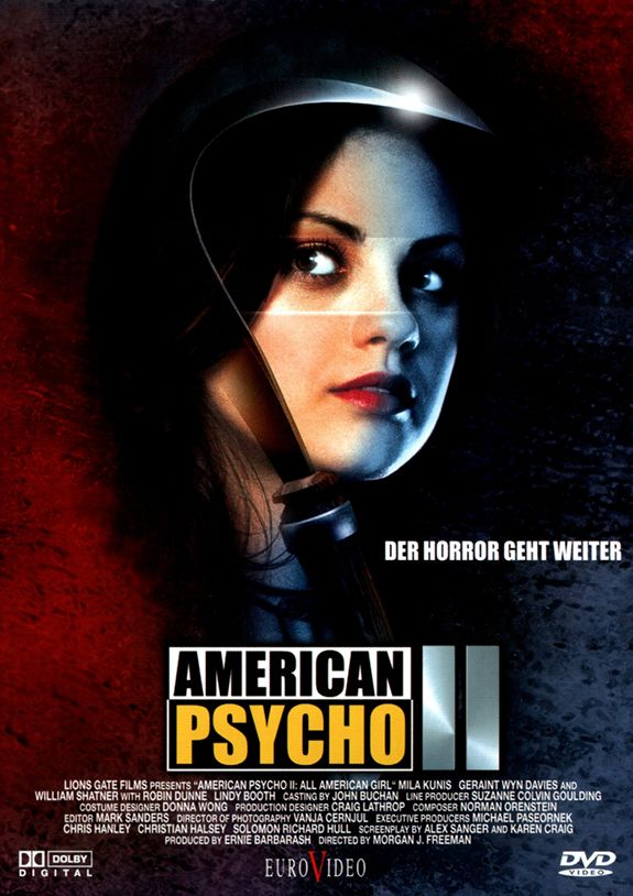 'Angrier. Deadlier. Sexier.' American Psycho 2 – aka American Psycho II: All American Girl – is a 2002 black comedy slasher horror film sequel to American Psycho (2000) dire…