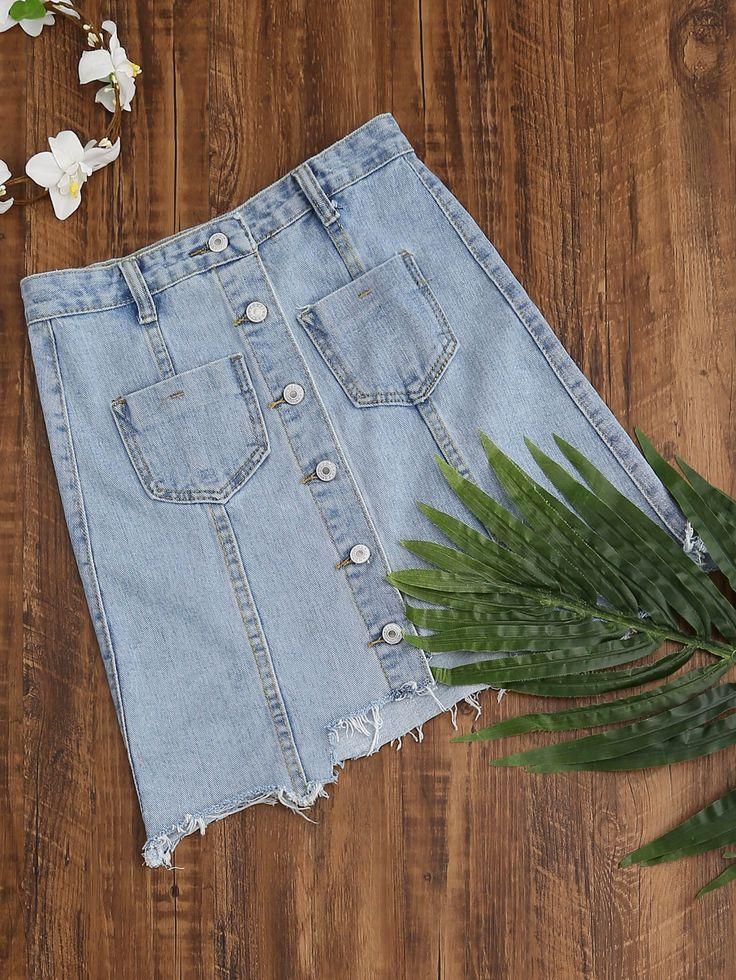 Shop Single Breasted Dual Pockets Raw Hem Denim Skirt online. SheIn offers Single Breasted Dual Pockets Raw Hem Denim Skirt & more to fit your fashionable needs.