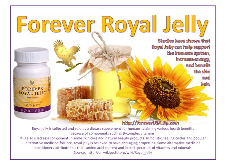 "Royal Jelly is a substance derived from the pharyngeal glands of the honey bee. This ""super food"" of the bees is specially blended with enzymes and fed to each bee destined to become a queen. It is the exclusive food of the queen bee throughout her highly productive life, enabling her to lay up to 3,000 eggs per day during her six-year lifespan. Worker bees eating ordinary honey live only four to six weeks."
