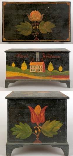 Beautifully Weber painted box!! realized 99,450.00 Pook and Pook. Click on photo and takes you to a fab Folk Art collection sold including a blue wagon box with hinges that are incredible for 28,450.00. (An earlier pin)