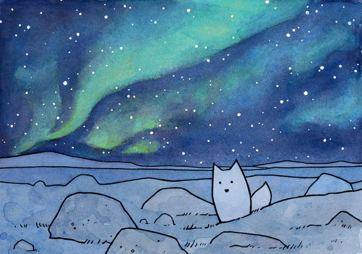 """A little Arctic fox, in it's white Winter coat, sits under the dancing Northern Lights. Drawn with India ink and watercolors. High quality art print Signed and dated 5x7"""" and 8x10"""" prints come matted"""