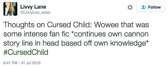 "Accurate. || Everyone Thinks ""Harry Potter And The Cursed Child"" Is Basically Fanfic"