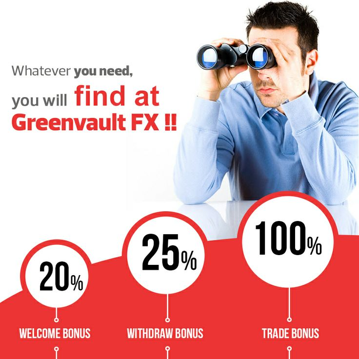 Make better profits with Greenvault #FX bonus offers!   *Fund your account and get 20% welcome bonus!  *For every deposit, get 25% withdraw bonus! *Get up to 100% trade bonus every time you fund!
