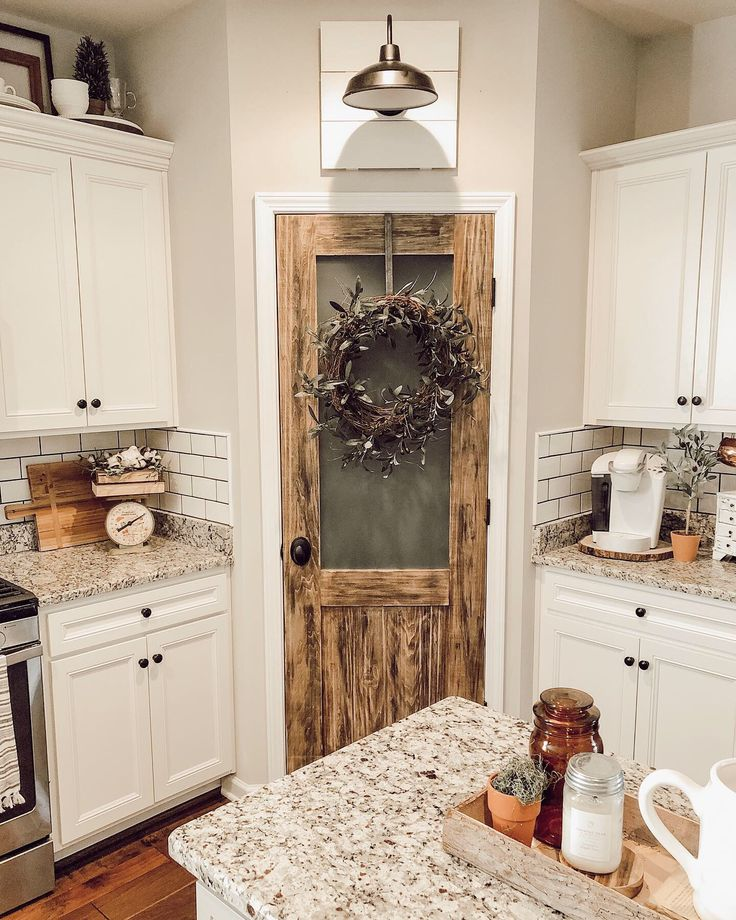 28 Antique White Kitchen Cabinets Ideas In 2019: Farmhouse Kitchen, Subway Tile, Antique Door, Pantry Door