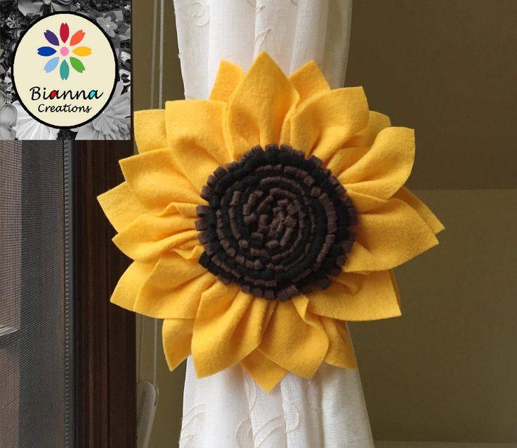 Gold Brown Black Kanzashi Felt Sunflower Curtain Tieback, Floral Holdback Home Decoration, Flower Baby Nursery Room Decor by BiannaCreations on Etsy