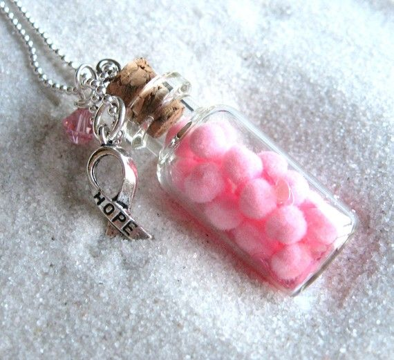 Hope in a Bottle breast cancer awareness necklace by heysista, $12.50