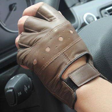 Gloves, Driving, Men's, Genuine Leather, Half Finger
