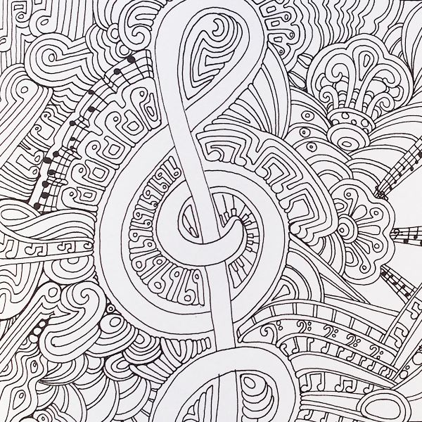 A musical page from Color Me Happy, part of the Zen Coloring book range by Art Therapist Lacy Mucklow