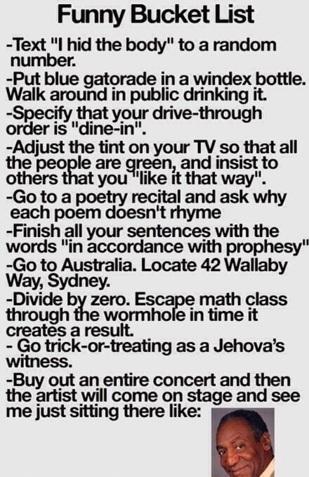 Funny Bucket List - #BucketList, #Funny, #Humor