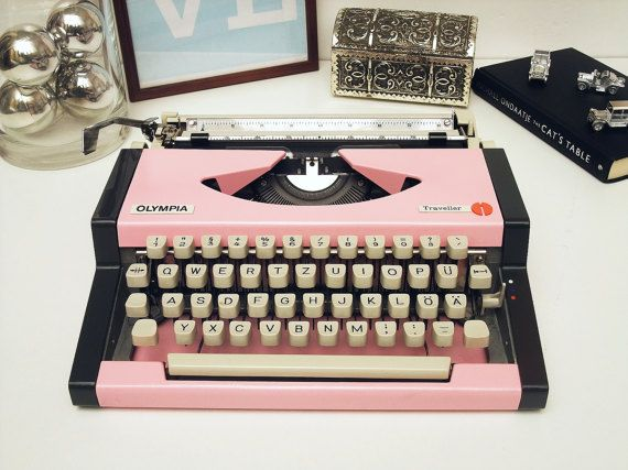 Pink Typewriter Olympia Traveller Fully Working by ModernLifeArt