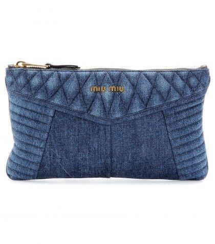 Friday Finds – Denim Trend 2014 jean colored clutch by Miu Miu quilted wash