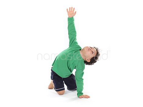 Kids learn Giraffe Pose. Visit our Kids Yoga Pose library to explore more kids yoga exercises and yoga poses for children, preschoolers, and toddlers.