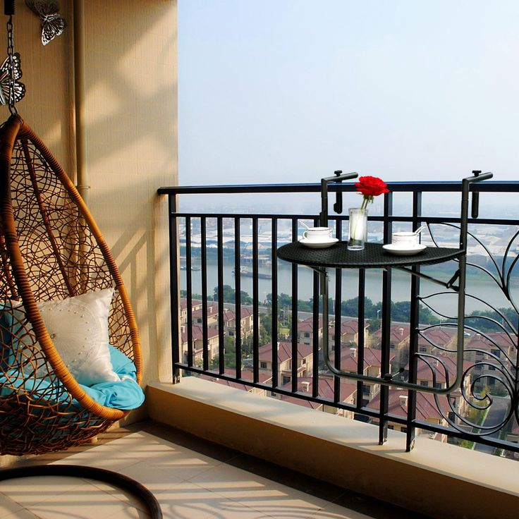 High Quality IKAYAA Adjustable Folding Balcony Deck Table Hanging Patio Railing Coffee Table from Tomtop.com