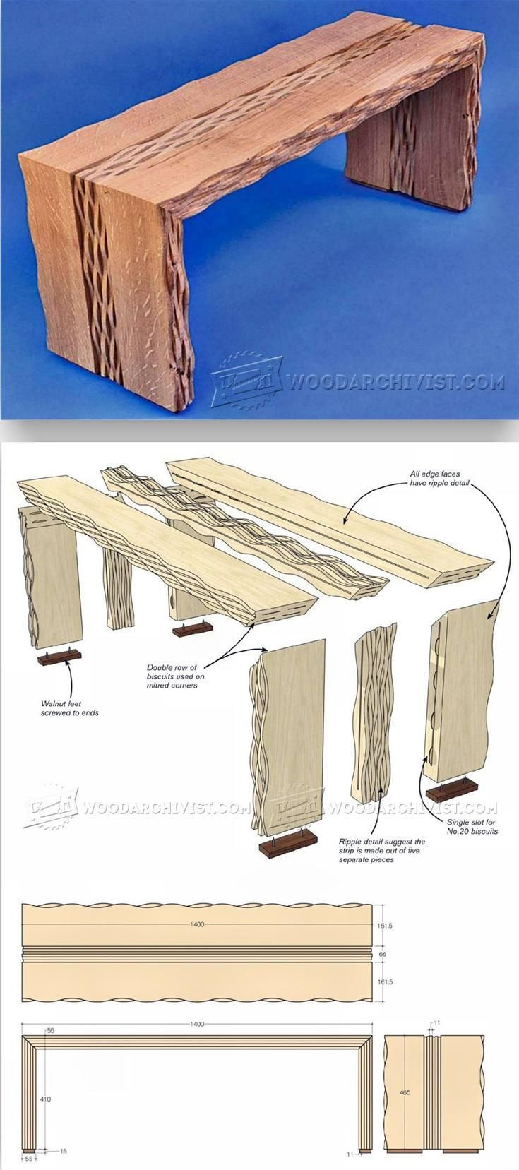 Rippled Oak Bench Plans - Furniture Plans and Projects | WoodArchivist.com