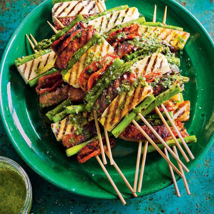 Spring = Asparagus, Chorizo & Haloumi Skewers with Herb Oil #Spring #Asparagus #Chorizo #Haloumi #Skewers