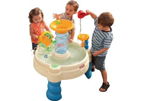 Turn the spinner that powers the lazy river. The water table comes with 6 balls and a fill cup. It measures 67 x 67 x 77cm high. Ages 2+ years