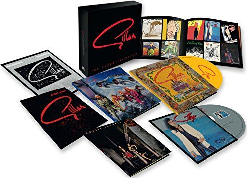 Complete Studio Recordings:   2015 six CD box set. The Albums Collection houses together all five UK studio albums by the legendary rock powerhouse in mini-LP sleeve replications as well as bonus CD for Gillan Fans Only. All material has been re-mastered and sits alongside a lavish 28-page booklet featuring a 5000 word essay and imagery from across the catalog. Includes the albums Mr. Universe (1979), Glory Road (1980), Future Shock (1981), Double Trouble (1981), and Magic (1982). The ...