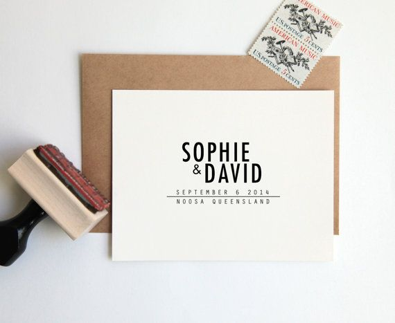 Save the Date Stamp, Custom Wedding Rubber Stamp (Wood Mounted) Bold Minimal Modern Design Personalized with Names and Date