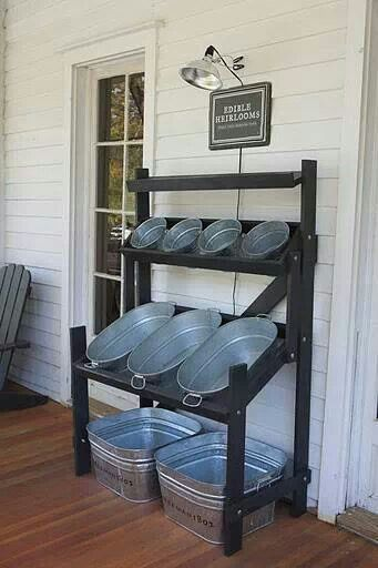 Serve yourself beverage station at next outdoor party. I must make one if these!!! Just Ice, fill & serve! Love it. Or a garden fill up with plants