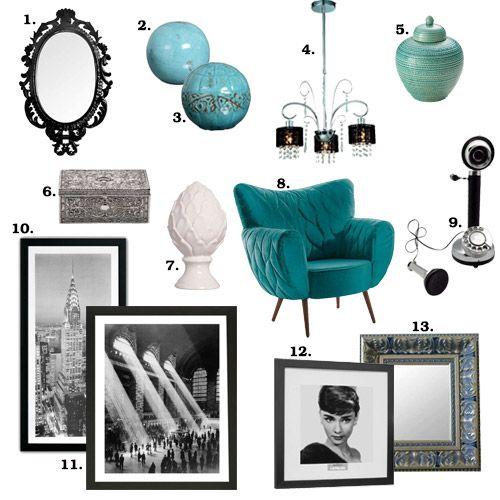 Produtos da Mobly inspirados no filme Bonequinha de Luxo. A cor turquesa tem tudo a ver com a Audrey Hepburn <3