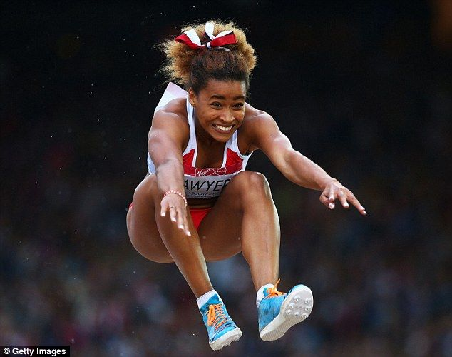 England's Jazmin Sawyers leaps to silver medal in long jump final