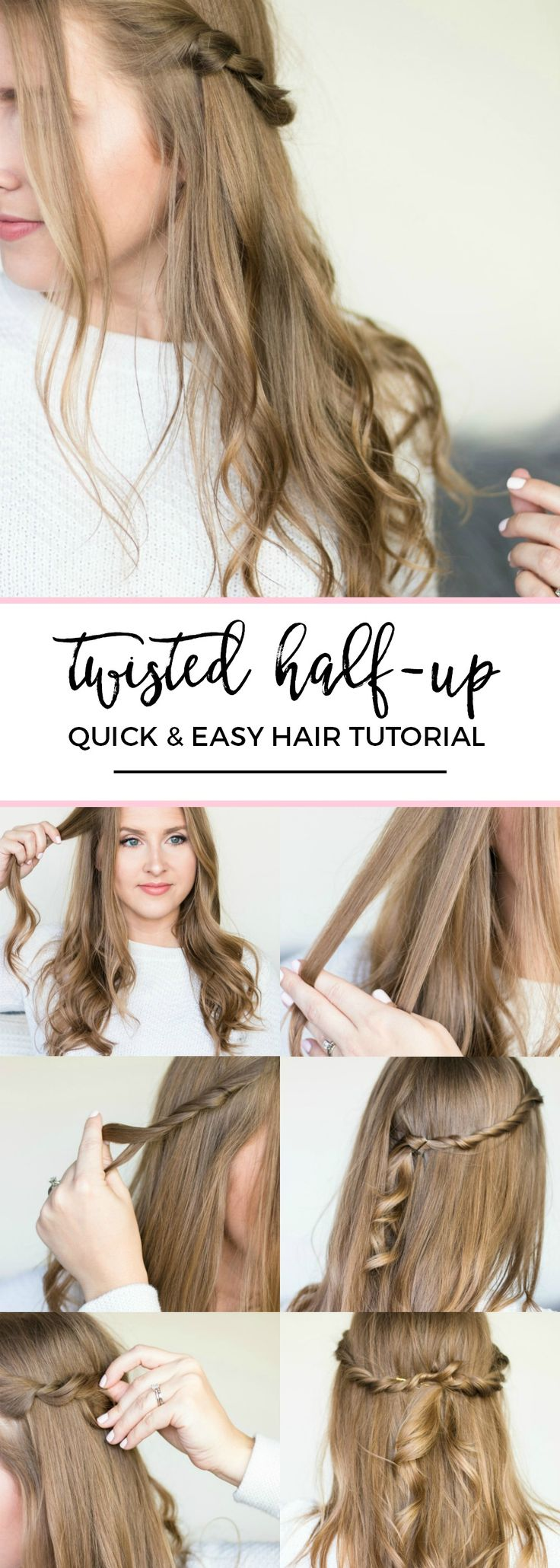 Half-up twisted hair style with soft waves hair tutorial | Quick and easy, no-heat hairstyle tutorials with beauty blogger Ashley Brooke Nicholas + the best shampoo and conditioner for dry hair from @PanteneUS ! #StrongisBeautiful sponsored