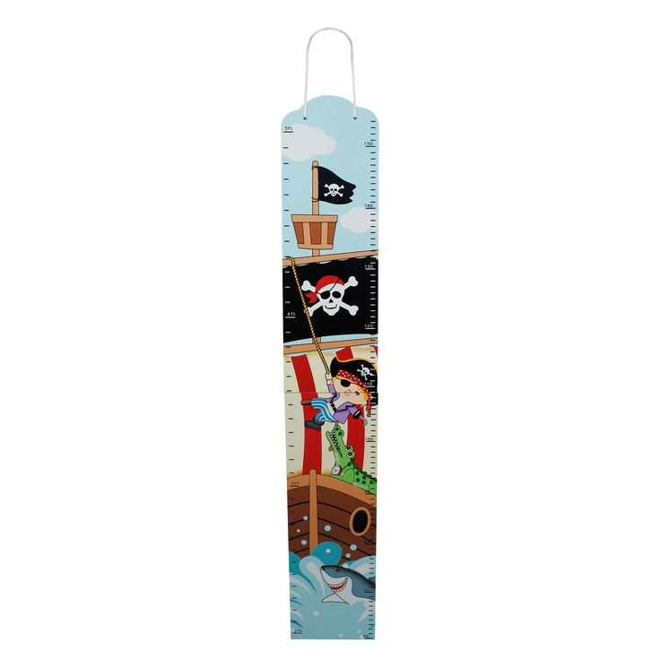 Grow to be taller than the tallest ship with the Pirate Growth Chart. Measure your child's growth spurts with this handy and fun growth marker. Pirates prance about this kids height chart, making it a unique and eye catching gift. As well as being perfect for measuring your toddler's growth,  it also makes for a great wall decoration.