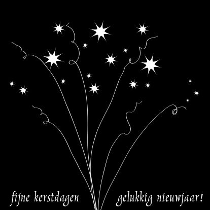 Feestelijk kaartje met sterretjes die de lucht in schieten. Lijkt op vuurwerk.