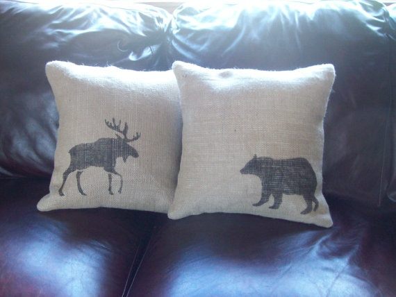 Burlap Moose Decorative Pillow Cover 16 x by NorthCountryComforts, $30.00