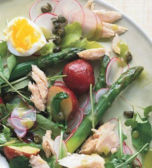 Tuna, Asparagus, and New Potato Salad with Chive Vinaigrette and Fried Capers
