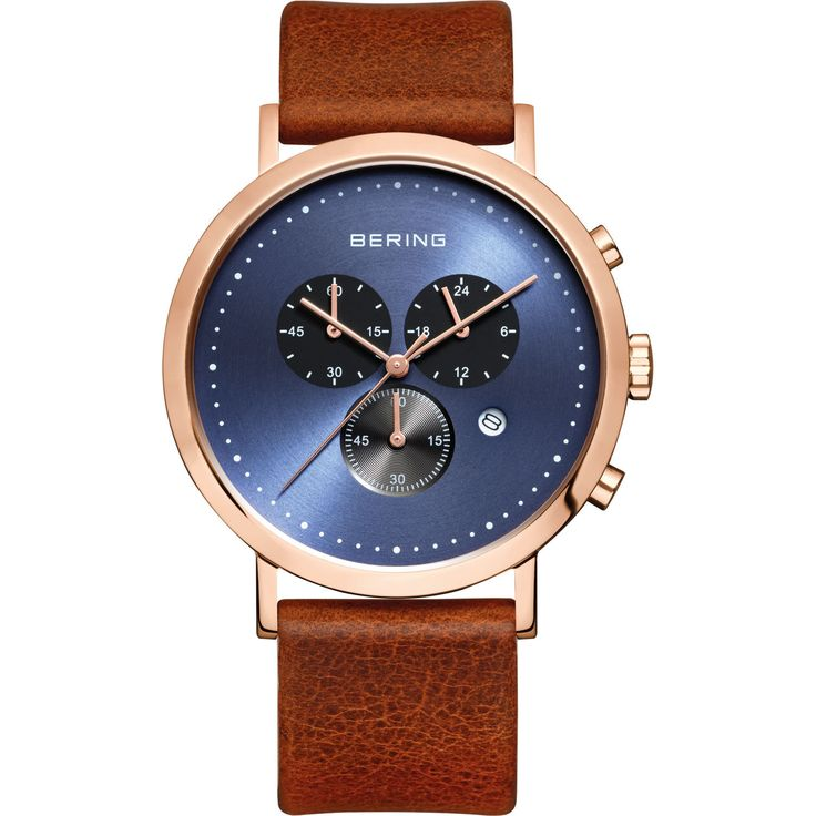 An elegant classic look with a fine calfskin leather strap and rosetone stainless steel case framing a beautiful blue dial make this Bering Men's 10540-467 Classic Chronograph Watch a stunning addition to your wardrobe.