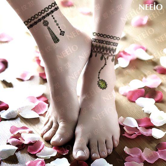 enkel tatoeages | tätowierung smaragdschmuck Adel fußkettchen Juwel tattoo aufkleber ...