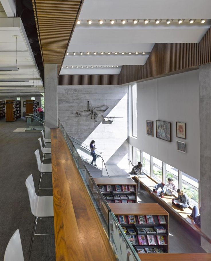 Counter with chairs facing out the window of lounge area? --Orillia Public Library / Perkins+Will