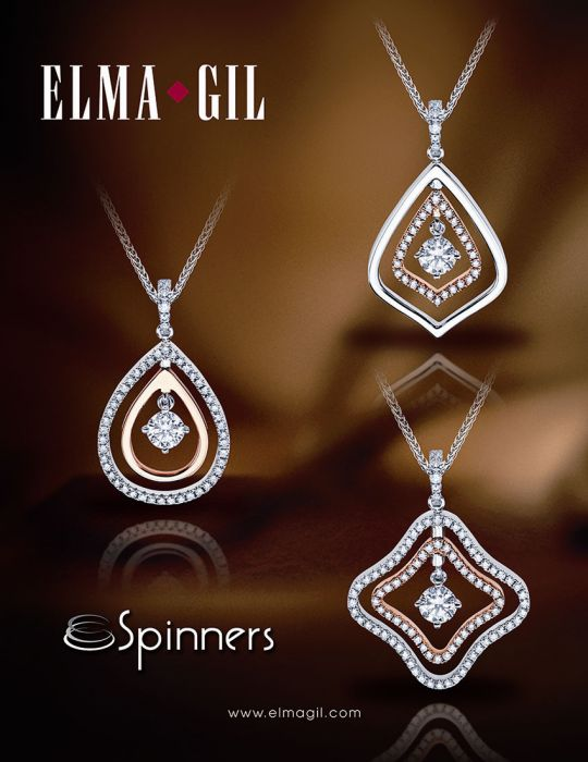 "Elma Gil ""Spinners"" Pendants  Each layer can flip to show white gold, rose gold, or diamond."