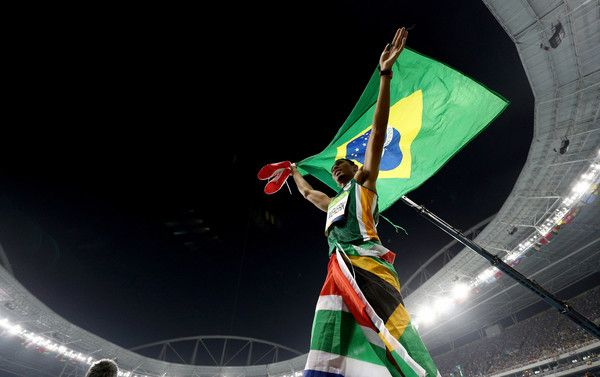 Wayde van Niekerk of South Africa celebrates after winning the Men's 400 meter final on Day 9 of the Rio 2016 Olympic Games at the Olympic Stadium on August 14, 2016 in Rio de Janeiro, Brazil.