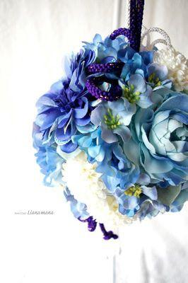 アートフラワー <青い和装ボールブーケ> | ウェディングフラワー ... 先日お知らせしました、アートフラワーブーケのオンラインショップ
