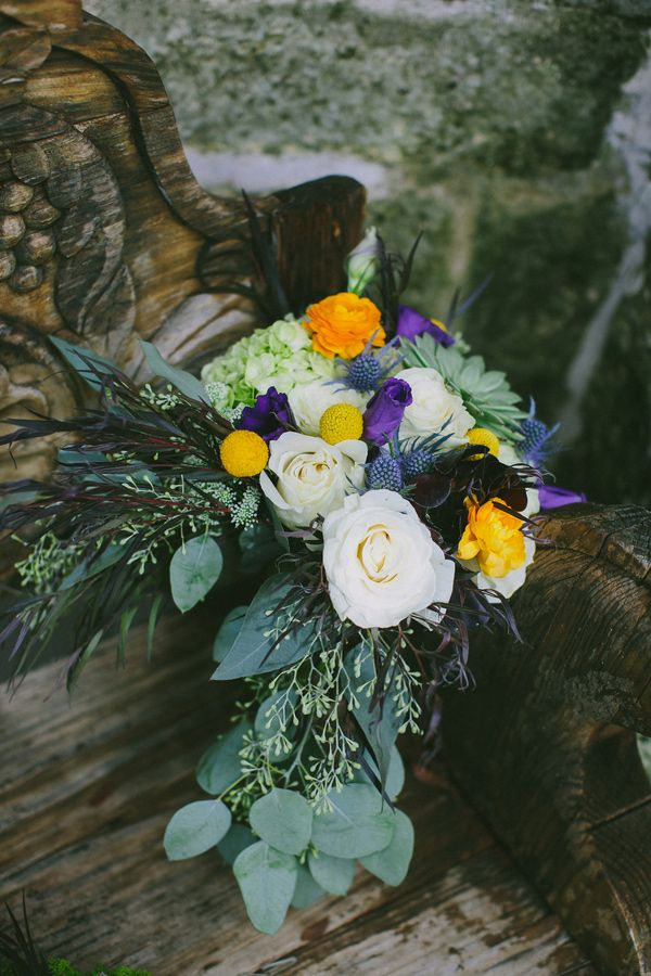 bouquet with silver dollar eucalyptus, Photo by Amber Vickery Photography http://ruffledblog.com/texas-wedding-with-new-orleans-flair #weddingbouquet #flowers